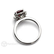 Diamond Halo Garnet Ring 14K White Gold Rare Earth Jewelry