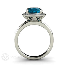 Cushion Cut Blue Topaz Halo Ring 18K Gold Rare Earth Jewelry
