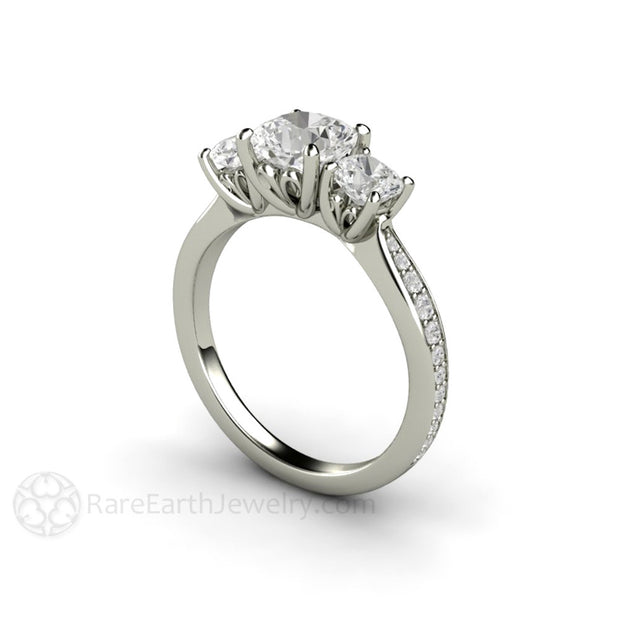 Rare Earth Jewelry Cushion Cut Engagement Ring 3 Stone Forever One Moissanite Diamond Accented 14K White