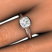 Cushion Cut Moissanite Bezel Ring Vintage Style Beaded Scrollwork Rare Earth Jewelry