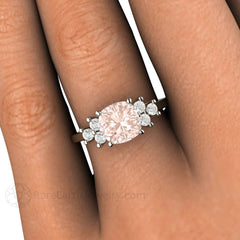 Rare Earth Jewelry Cushion Morganite Ring on Finger Diamond Accent Stones