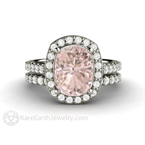 Bridal Set Cushion Cut Halo Morganite Engagement Ring