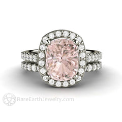 Rare Earth Jewelry Cushion Cut Morganite Halo Engagement Ring and Wedding Band Set