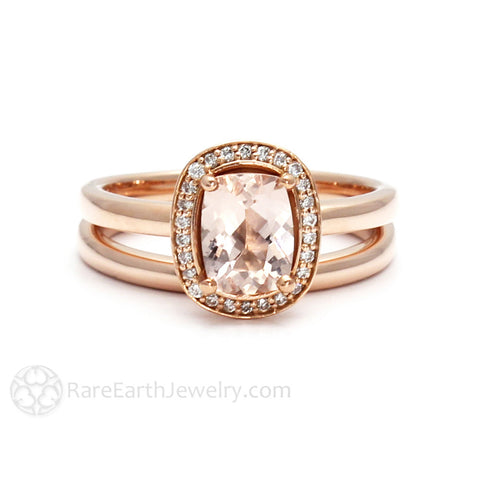Morganite Bridal Set Cushion Cut Engagement Ring with Diamond Halo