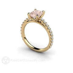 Diamond Accented Morganite Ring Cushion Cut 14K Yellow Gold Rare Earth Jewelry