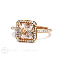 Morganite Cushion Engagement Ring with Diamond Halo Rare Earth Jewelry