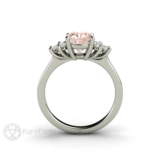 Rare Earth Jewelry Platinum Morganite Right Hand Ring or Anniversary