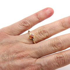 Rare Earth Jewelry Orange Sapphire Right Hand Ring on Finger 14K Cushion Cut