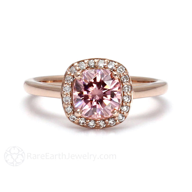 Rare Earth Jewelry Pink Moissanite Engagement Ring Cushion Cut