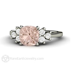Rare Earth Jewelry Cushion Morganite Ring Diamond Accent Side Stones 14K White Gold