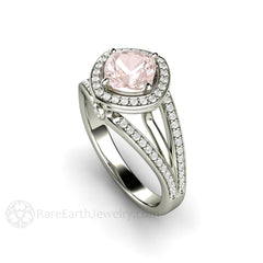 Rare Earth Jewelry Pink Sapphire Ring Cushion Cut Halo 14K White Gold