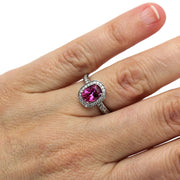 Rare Earth Jewelry Hot Pink Sapphire Right Hand Ring on Finger