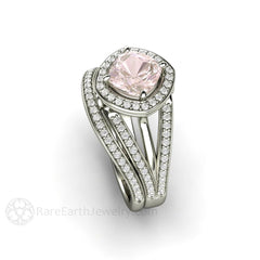 Pink Sapphire Bridal Wedding Set Cushion Halo Diamond Accent Stones Rare Earth Jewelry