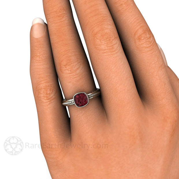 Bezel Rhodolite Garnet Right Hand Ring on Finger Rare Earth Jewelry