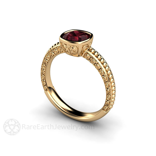 Vintage Style Garnet Ring Cushion Cut 14K Gold Rare Earth Jewelry