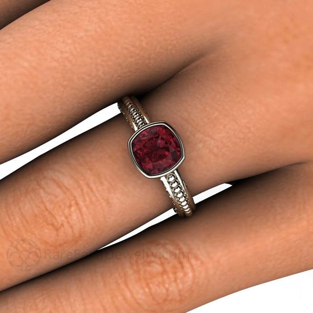 14K Cushion Rhodolite Garnet Bezel Ring on Finger Rare Earth Jewelry