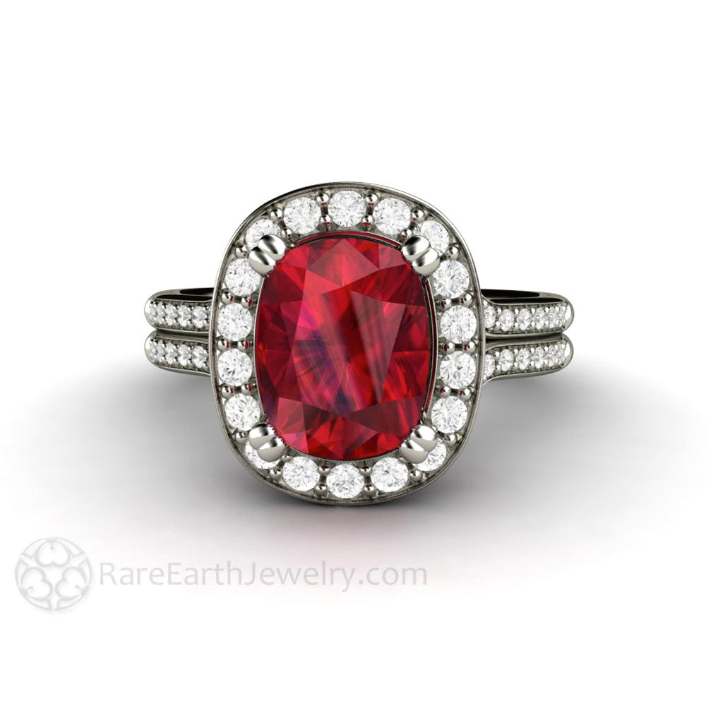 Rare Earth Jewelry Cushion Cut Ruby Diamond Halo Engagement Ring Split Shank Rare Earth Jewelry