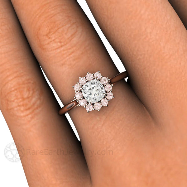 Cushion Cut Diamond Ring With Pink Diamond Halo Gia Rare