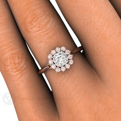 Rare Earth Jewelry Pink Diamond Halo Cushion Cut Engagement Ring on Finger