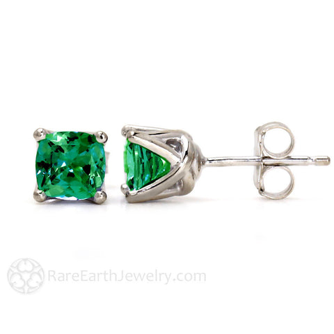 Cushion Emerald Stud Earrings in 14K Gold May Birthstone