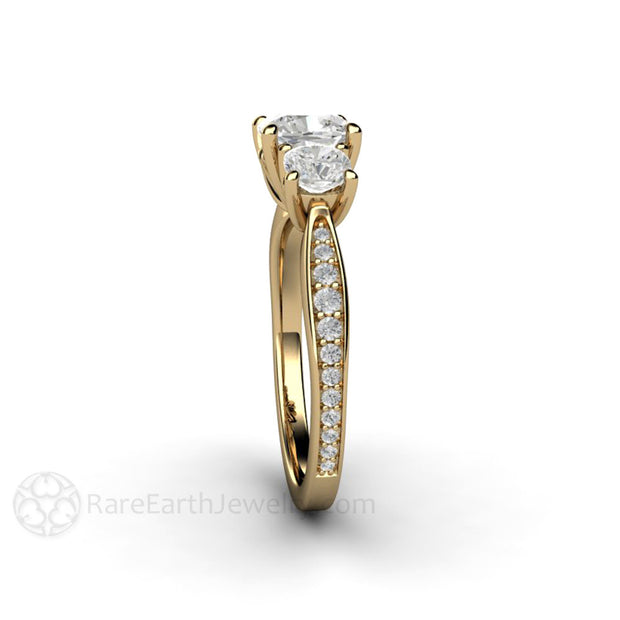 Rare Earth Jewelry 14K Forever One Moissanite Wedding Ring Cushion 3 Stone