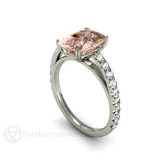 Rare Earth Jewelry Cushion Cut Morganite Right Hand Ring with Diamonds