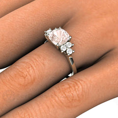 Rare Earth Jewelry Pink Morganite Cushion Cut Ring with Diamonds on Finger 7MM