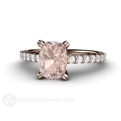 Rare Earth Jewelry Morganite Cushion Cut Engagement Ring