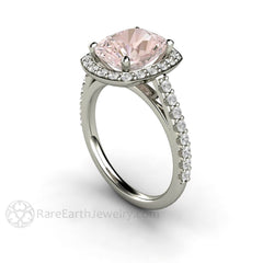 Cushion Cut Morganite Engagement Ring with Diamond Halo 14K White Gold Rare Earth Jewelry