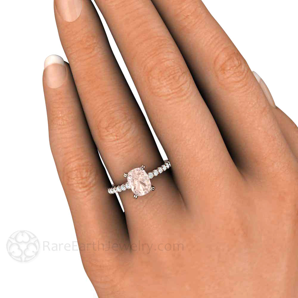 Morganite Cushion Engagement Ring Accented Solitaire