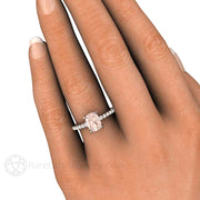 Morganite Cushion Solitaire with Diamonds on Finger Rare Earth Jewelry
