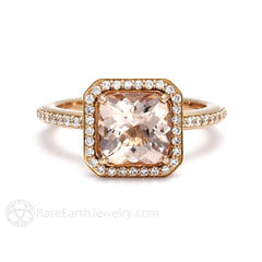 Cushion Morganite Halo Ring Rose Gold Setting Rare Earth Jewelry