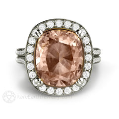 Rare Earth Jewelry 5ct Cushion Morganite Ring Split Shank
