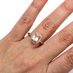 Cushion Cut Morganite Halo Ring on Finger Rare Earth Jewelry
