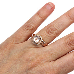 Rare Earth Jewelry Cushion Morganite Halo Wedding Set on Finger
