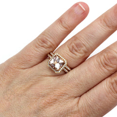 Cushion Morganite Halo Wedding Ring Set on Finger Rare Earth Jewelry