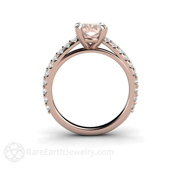 Rare Earth Jewelry Engagement Ring Cushion Morganite 14K Rose Gold