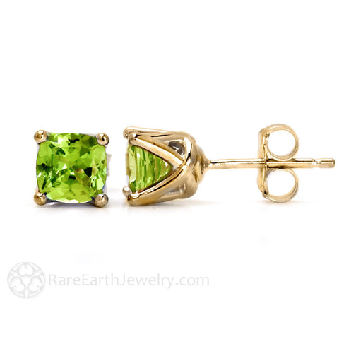 Cushion Peridot Stud Earrings in 14K Gold August Birthstone