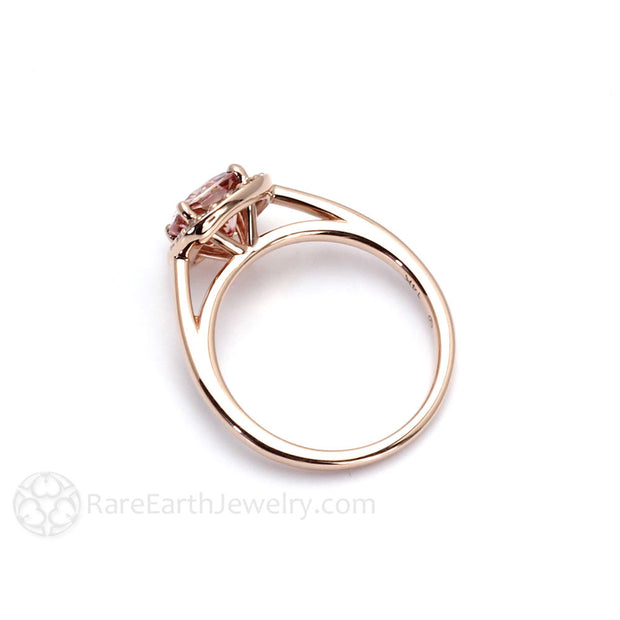 Rare Earth Jewelry Rose Gold Halo Setting Pink Cushion Moissanite Ring