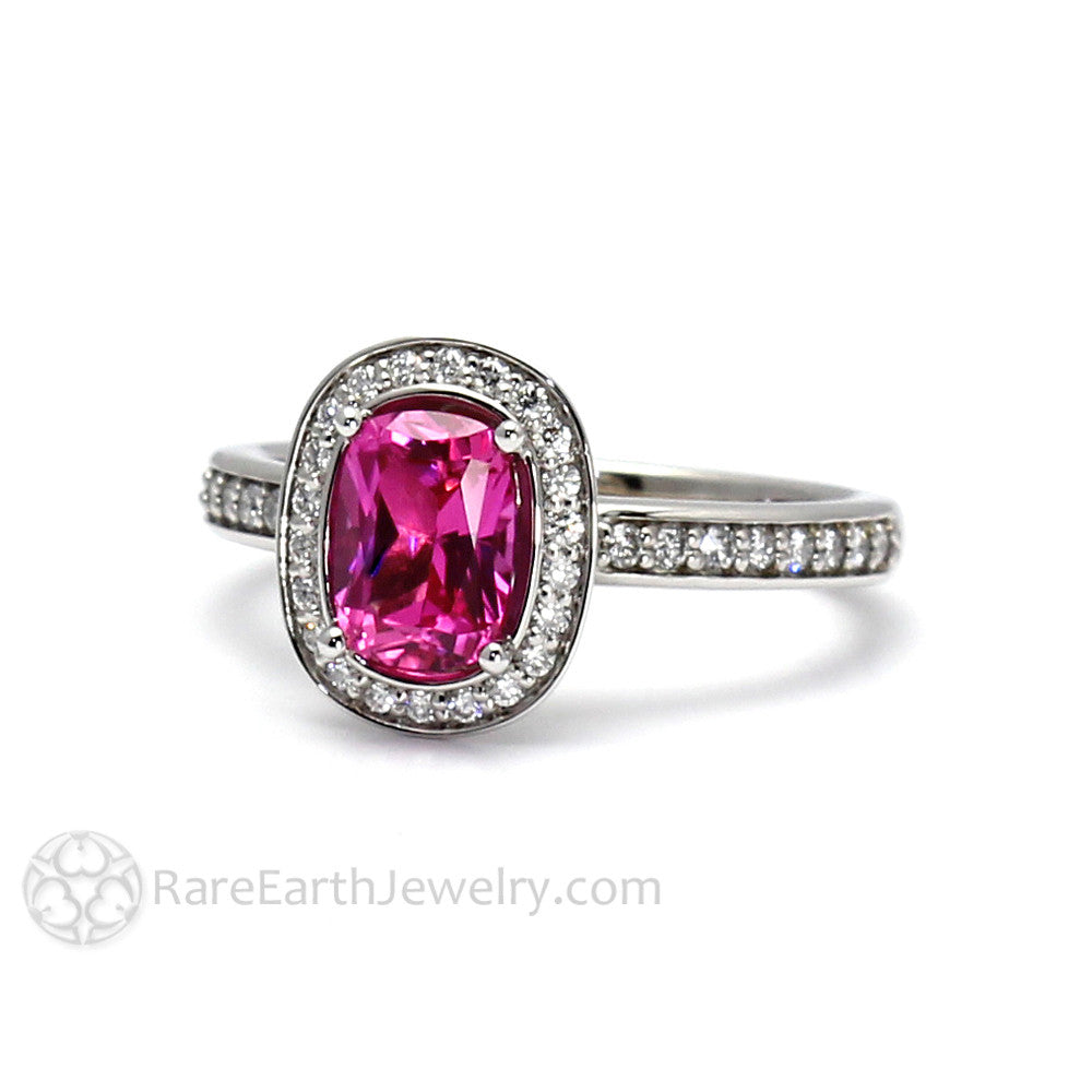 Hot Pink Sapphire Ring Cushion Engagement Ring With Diamond Halo