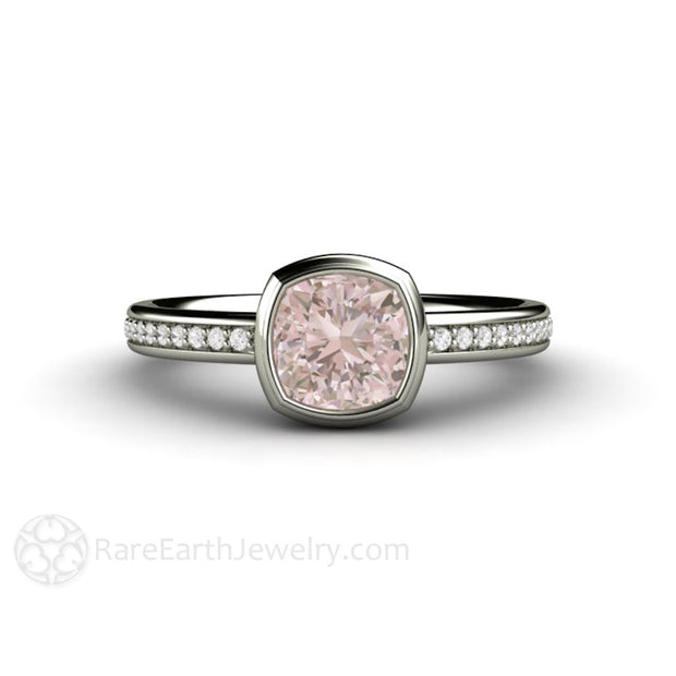 Rare Earth Jewelry Bezel Set Cushion Cut Pink Sapphire Engagement Ring