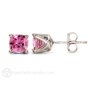 Cushion Cut Pink Sapphire Stud Earrings