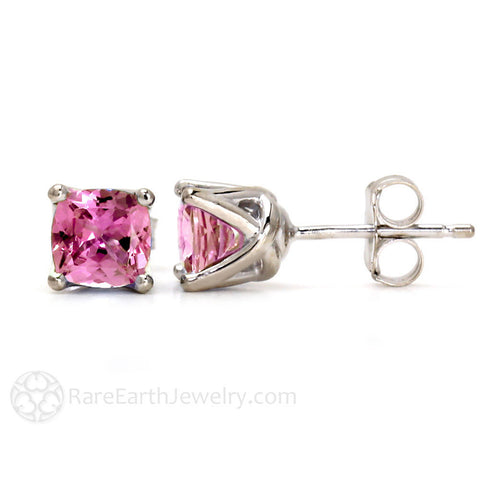 Cushion Pink Sapphire Stud Earrings in 14K Gold