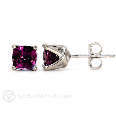 Rhodolite Garnet Stud Earrings Cushion Cut in 14K Gold Rare Earth Jewelry