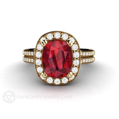 Rare Earth Jewelry 18K Yellow Gold Ruby and Diamond Bridal Ring Halo Split Shank