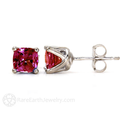 Cushion Cut Ruby Stud Earrings 14K Gold Woven Prong Settings by Rare Earth Jewelry