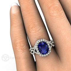Cushion Blue Sapphire Infinity Halo Bridal Set on Finger Rare Earth Jewelry