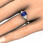 Tanzanite and Diamond Ring in White Gold on Hand