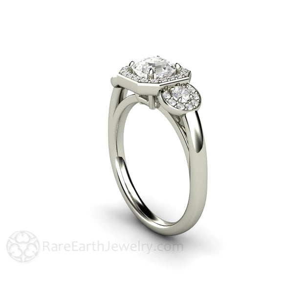14K White Gold Halo 3 Stone Engagement Ring Asscher Cut White Sapphire with Diamond Accents Rare Earth Jewelry