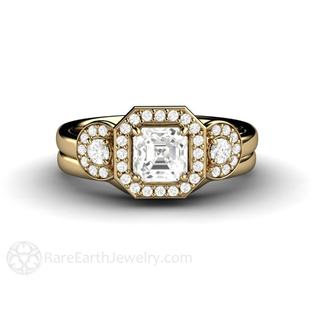14K Yellow Gold Asscher Sapphire Wedding Set Halo Three Stone Rare Earth Jewelry